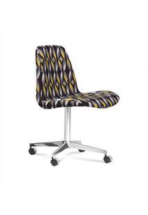 Cadeira Eames Base Cromada Com Rodizio Daf Colorido Preto
