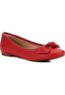 Sapatilha Shoestock Laço Color Feminina - Feminino-Vermelho