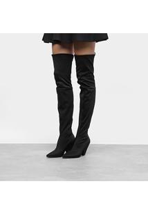 Bota Meia Over The Knee Zatz Strech Salto Cone Feminina - Feminino-Preto