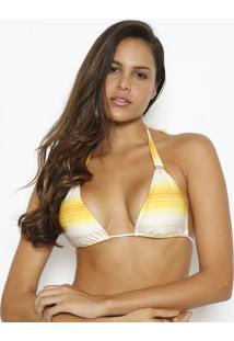 Soutien Cortininha Listrado- Amarelo & Branco- Vixvix