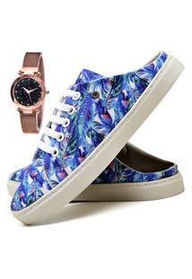 Tênis Mule Sapatênis Casual Fashion Com Relógio Gold Feminino Dubuy 313El Azul