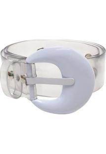 Cinto Birô Cristal Fivela Color Feminino - Feminino-Branco