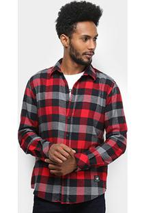 Camisa Ellus 2Nd Floor Wool Dakota Xadrez Manga Longa Masculina - Masculino-Vermelho Claro