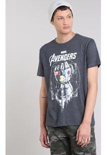 Camiseta Masculina Os Vingadores Manopla Do Infinito Curta Decote Redondo Cinza Mescla Escuro