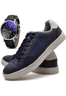 Sapatênis Sapato Casual Com Relógio Juilli Com Cadarço Masculino 04L Azul