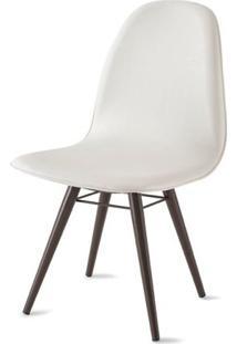 Cadeira Boom Assento Estofado Courissimo Branco Base Tabaco - 39915 - Sun House