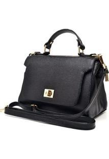 Bolsa De Couro Menor Hendy Bag Alça De Mão Com Repartição Feminina - Feminino-Preto