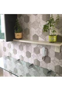 Papel De Parede Hexágonos Tiles Cinza Claro 3 Metros X 44 Cm
