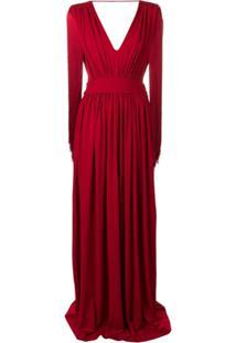 Alberta Ferretti Side Slit Dress - Vermelho