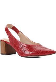 Scarpin Couro Shoestock Slingback Salto Médio Croco - Feminino-Vermelho