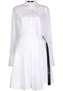 Karl Lagerfeld Poplin Shirt Dress With Pleats - Branco