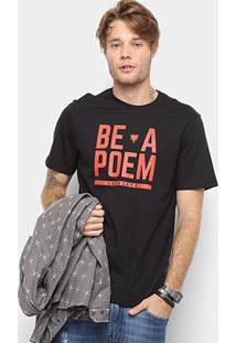 Camiseta Cavalera Estampa Be A Poem Masculina - Masculino-Preto