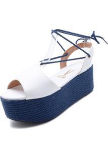 Sandália Flatform Vizzano Espadrille Azul