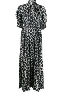 Just Cavalli Vestido Com Laço E Estampa De Leopardo - Branco