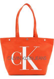 Bolsa Calvin Klein Monograma Laranja - Laranja - Feminino - Dafiti