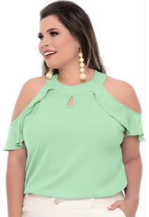 Blusa Verde Ninho Gola Plus Size