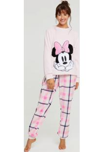 Pijama Feminino Plush Estampa Minnie Disney