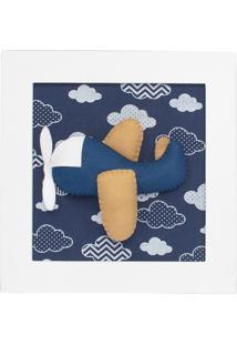 Quadro Decorativo Avião Marinho Quarto Bebê Infantil Menino