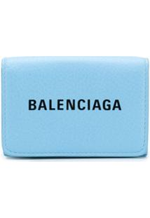 Balenciaga Clutch Everyday Com Logo - Azul