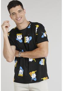 Camiseta Masculina Estampada Pato Donald Manga Curta Gola Careca Preta