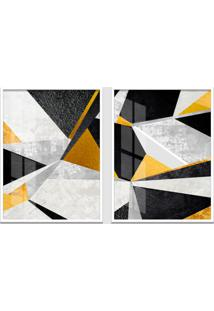 Quadro 65X90Cm Abstrato Veckrat Geométrico Moldura Branca Sem Vidro Decorativo Interiores