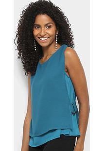 Regata Lily Fashion Detalhe Lateral Feminina - Feminino-Verde