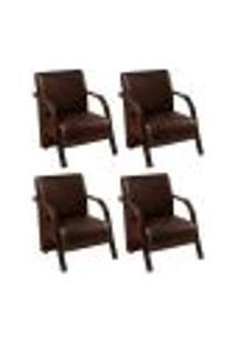 Conjunto De 4 Poltronas Sevilha Decorativa Braço De Madeira Cadeira Para Recepção, Sala Estar Tv Espera, Escritório, Vários Ambientes - Corino Marrom