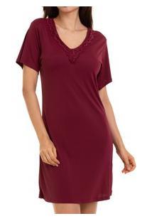 Camisola Curta Com Renda Sepie (1001) Liganete - Vinho