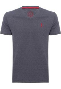 Camiseta Lisa 1/2 Malha Gola V - Jeans Aleatory Masculina - Masculino-Chumbo