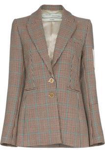 Off-White Blazer De Tweed Com Patch - Marrom