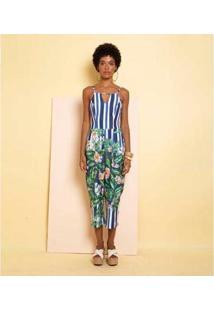 Macacão Pantacourt Estampa Flores Do Mar Mercatto Feminino - Feminino-Azul