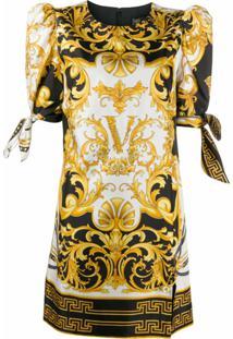 Versace Vestido Com Estampa Barroca - Amarelo
