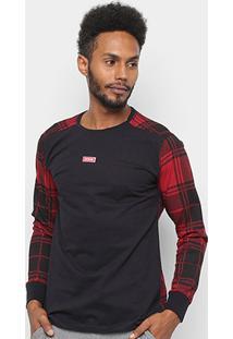 Camiseta Xadrez Manga Longa Overcore Estampada Masculina - Masculino-Preto+Vermelho