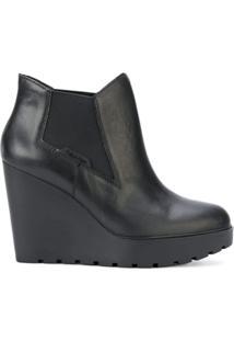 Calvin Klein Jeans Ankle Boot De Couro Com Plataforma - Preto