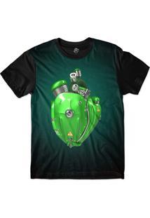 Camiseta Bsc Coração De Máquina Motor Verde Sublimada Azul