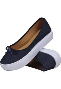 Sapatilha Lacinho Jeans Mb Outlet Flat Form Marinho - Azul Marinho - Feminino - Dafiti
