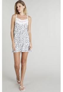 Camisola Feminina Estampada Floral Com Renda Alças Finas Branca