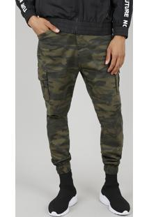 Calça De Sarja Masculina Jogger Cargo Estampada Camuflada Verde Militar