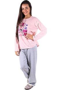 Pijama Linha Noite De Malha Longo Feminino - Feminino-Rosa