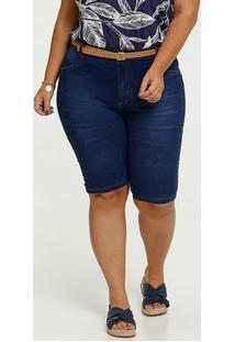 Bermuda Feminina Jeans Cinto Plus Size