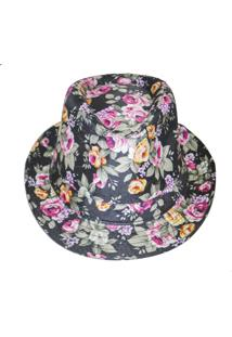 Chapéu Real Arte Florido Preto