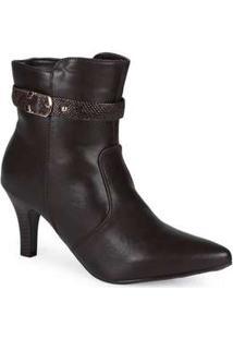 Ankle Boots Feminina Mooncity Textura Marrom
