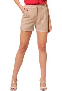 Shorts Mx Fashion Listrado Viscose Gerson Caqui - Tricae