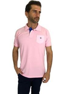 Camisa Polo Mister Fish Slim Com Bolso Masculina - Masculino-Rosa
