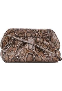 Themoirè Snakeskin Textured Clutch Bag - Marrom