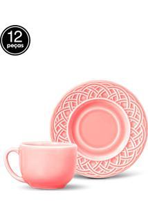 Conjunto 12Pçs Xícaras De Chá Porto Brasil Cestino Rosa