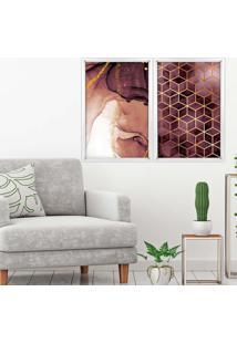 Quadro Love Decor Com Moldura Chanfrada Abstratos Branco Médio