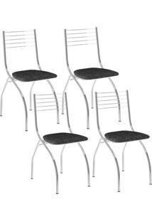 Cadeira 146 Cromada 04 Unidades Fantasia Preto Carraro