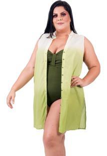 Saída De Praia Lavanda E Alecrim Regata Plus Size Tie Dye Verde