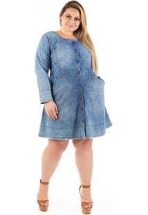Vestido Jeans Evasê Com Botões Plus Size - Feminino-Azul